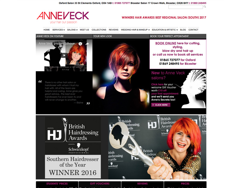 Anne Veck Oxford Hair Salon website with online booking