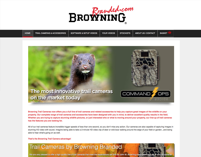 Browning Branded Trail Cameras website with online shop