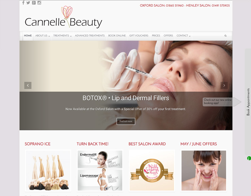 Cannelle Beauty, website for oxford beauty salon