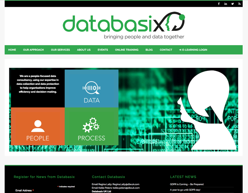 Databasix data consultancy website with online e-learning