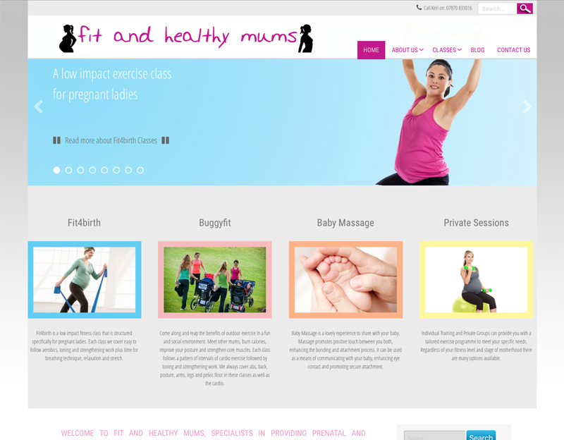 Fit and Healthy Mums prenatal exercise class website