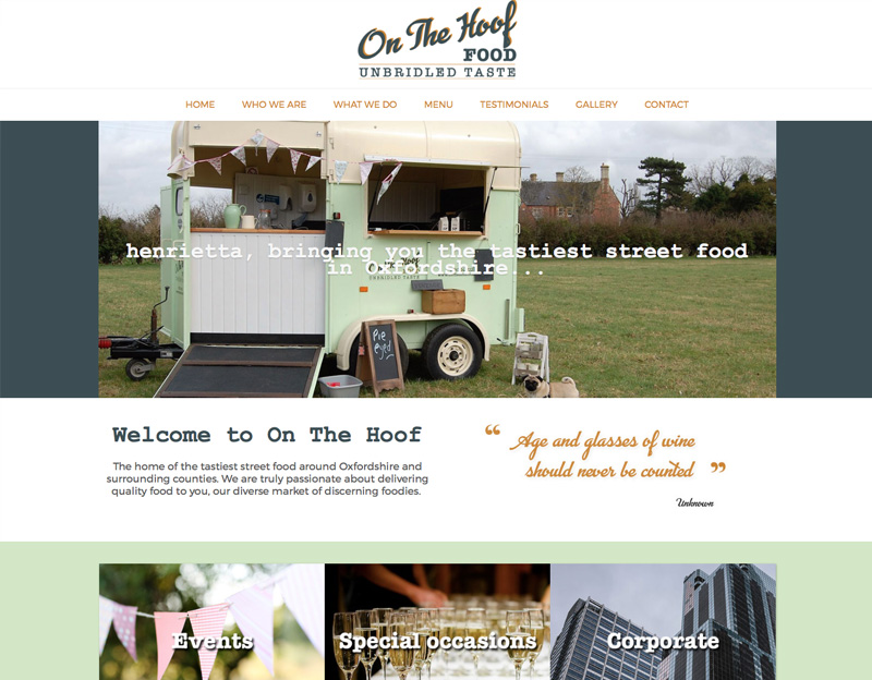 On The Hoof Food, website, logo and branding