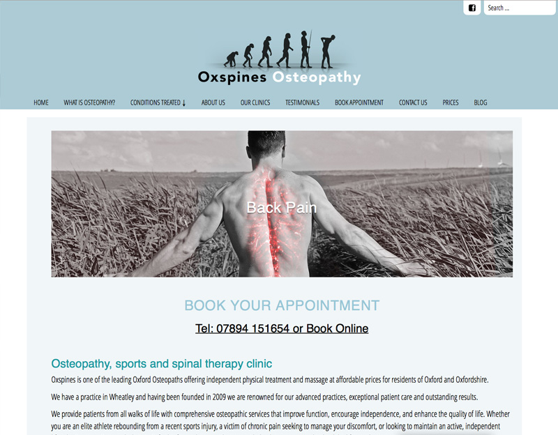 Oxspines Osteopath website with online booking