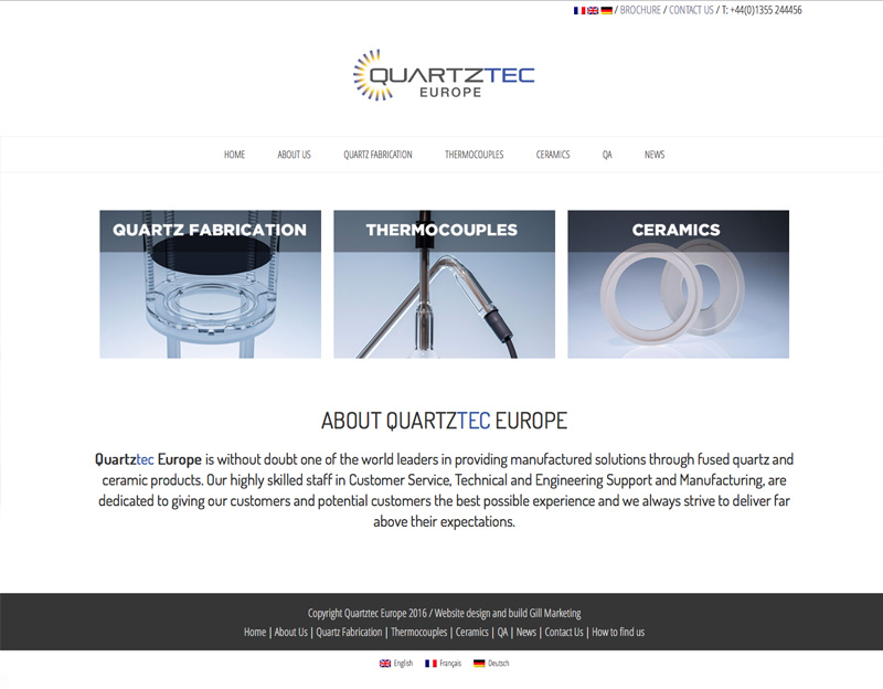 Quartztec Europe website with multi language facility