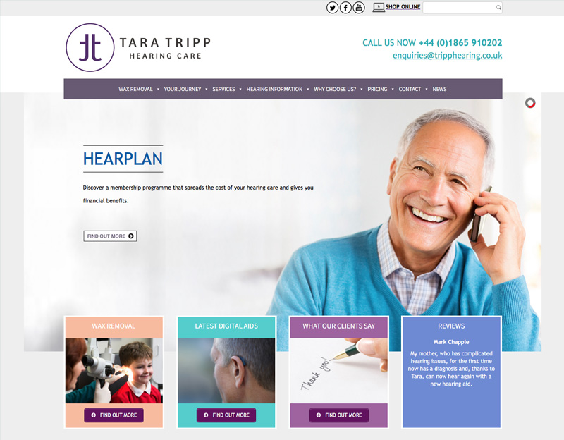 Tara Tripp Hearing website with online shop