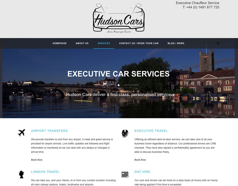 Hudson Cars Chauffeur Website oxfordshire website designer