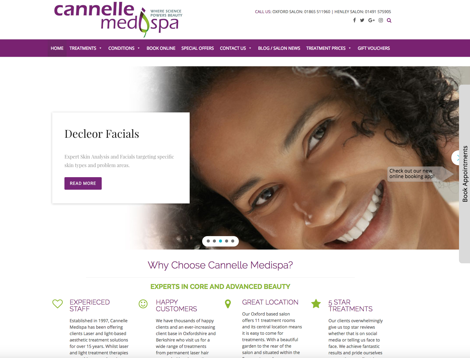 Cannelle Medispa - new website for oxford and henley beauty salon