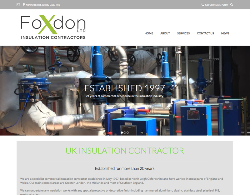 website and logo design for foxdon insulation contractors