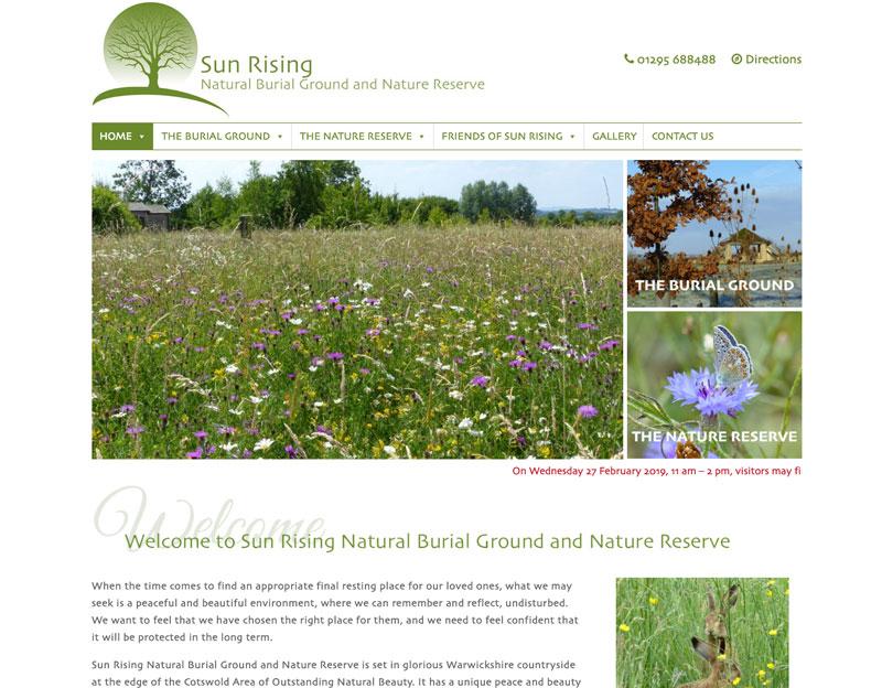 Sun Rising Natural Burial Ground website redesign and build